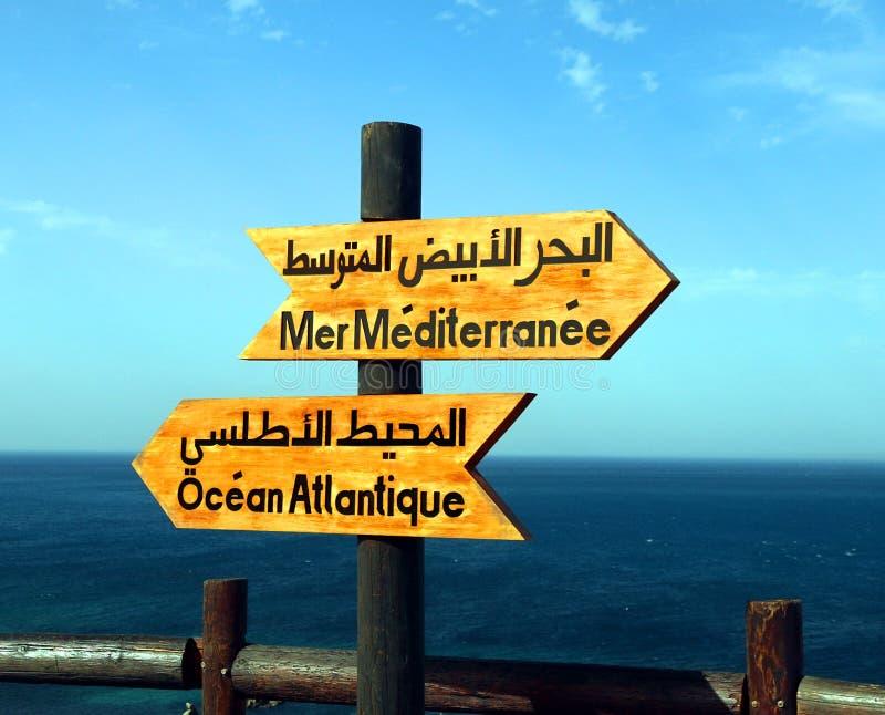 Sinal direcional de Oceano Atlântico e de mar Mediterrâneo fotografia de stock