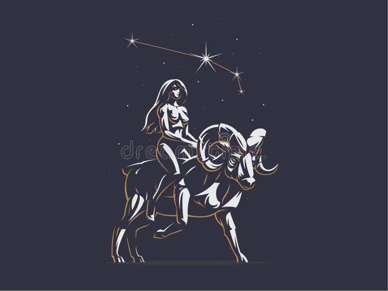 Sinal do Áries do zodíaco Os passeios da menina no Ram Emblema do vetor ilustração stock