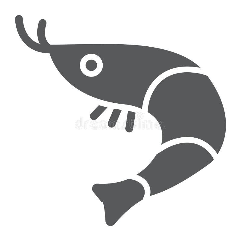 Sinal do ícone, do animal e do mar, oceano do alimento do glyph do camarão, gráficos de vetor, um teste padrão contínuo em um fun ilustração do vetor