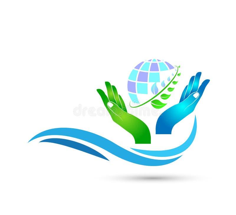 Sinal do ícone do conceito da gota da agua potável do vetor do molde do logotipo da praia do oceano das ondas do mar do pasto da  ilustração stock