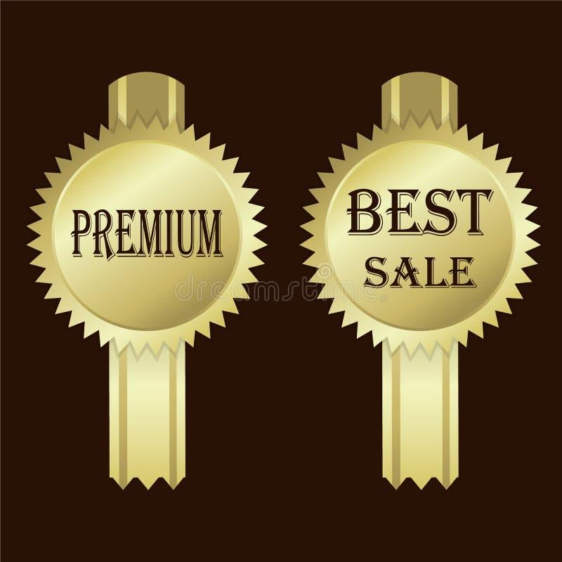 Sinal do ícone da etiqueta do ouro Sinal superior, melhor da venda ilustração do vetor