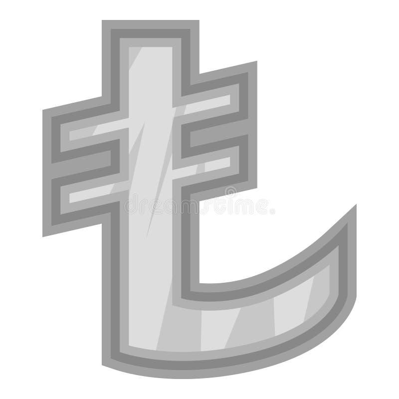 Sinal do ícone da lira do dinheiro, estilo monocromático preto ilustração stock