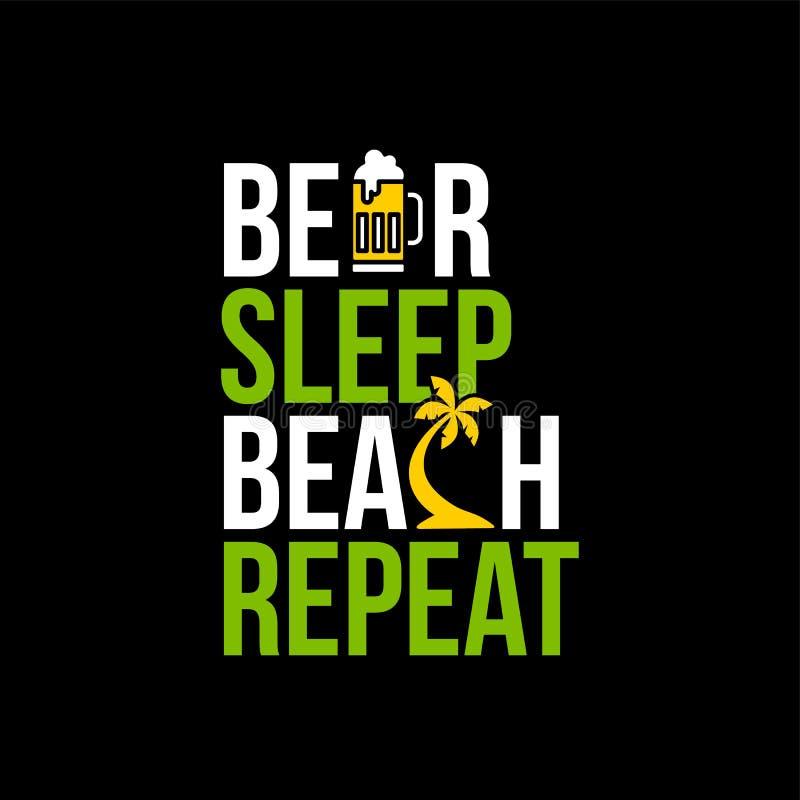 sinal do ícone da repetição da praia do sono da cerveja ilustração do vetor