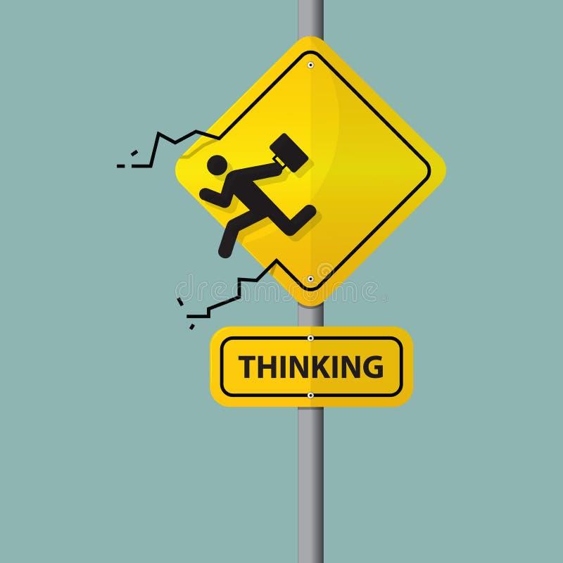 Sinal do ícone do homem de negócios que que pensa fora da caixa Pictograma no sinal de estrada ilustração royalty free