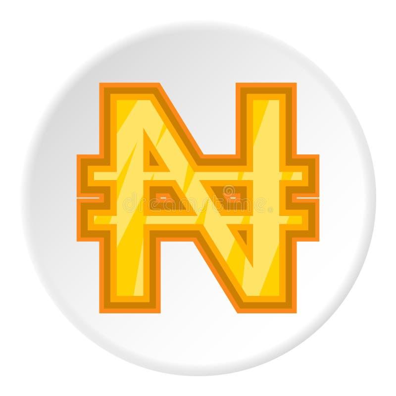Sinal do ícone do naira do dinheiro, estilo dos desenhos animados ilustração royalty free
