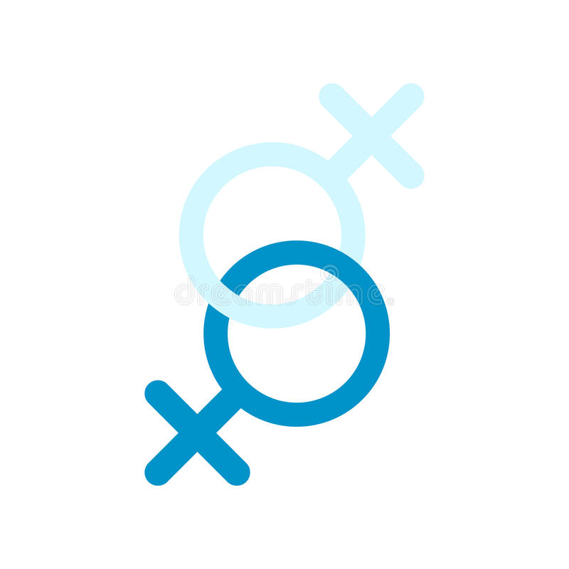 Sinal do ícone liso de duas mulheres ilustração stock