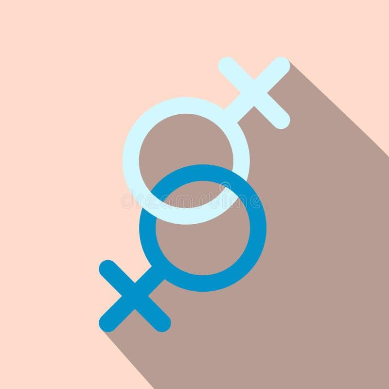 Sinal do ícone liso de duas mulheres ilustração do vetor