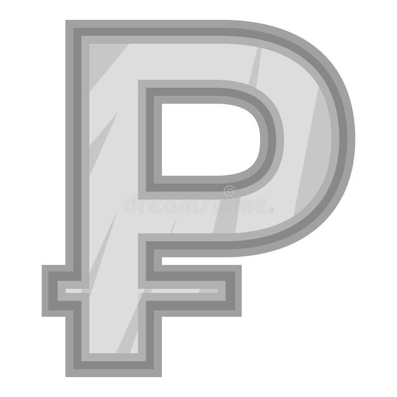 Sinal do ícone do rublo do dinheiro, estilo monocromático preto ilustração do vetor