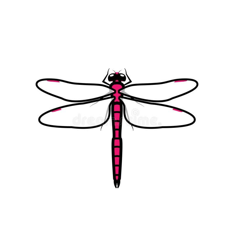 Sinal do ícone do símbolo do logotipo da libélula, cor cor-de-rosa ilustração do vetor