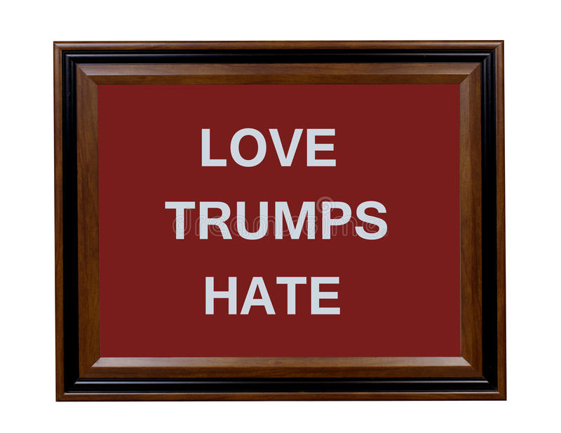 Sinal do ódio dos trunfos do amor imagens de stock royalty free