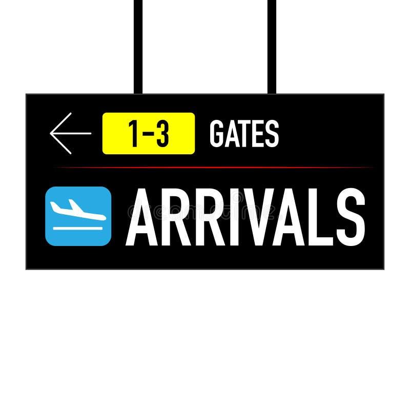 Sinal do aeroporto que aponta às portas e às chegadas ilustração stock