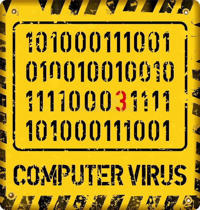 Sinal do alerta do vírus de computador, conceito da segurança do Internet, ilustração stock