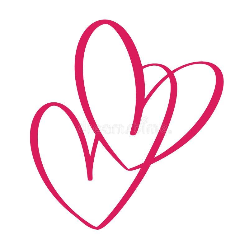 Sinal do amor do coração dois Ícone no fundo branco O símbolo romântico ligado, junta-se, paixão e casamento Molde para a camisa  ilustração royalty free