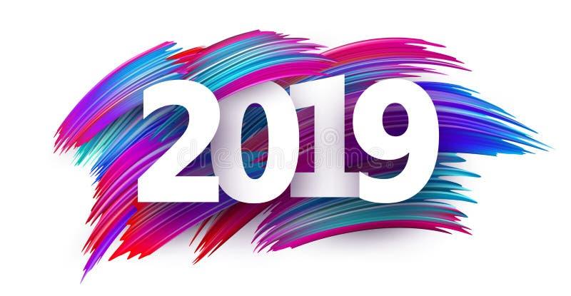 Sinal do ano novo 2019 com cursos da escova da cor no fundo branco ilustração stock