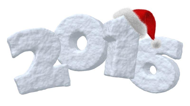 Sinal do ano novo 2016 feito da neve com chapéu de Santa ilustração stock