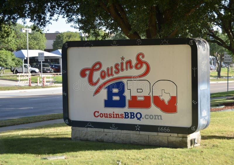 Sinal do assado dos primos, Fort Worth Texas fotografia de stock