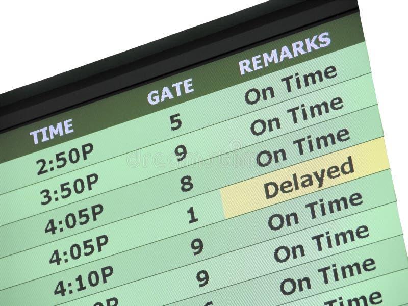 Sinal do atraso do aeroporto fotos de stock royalty free