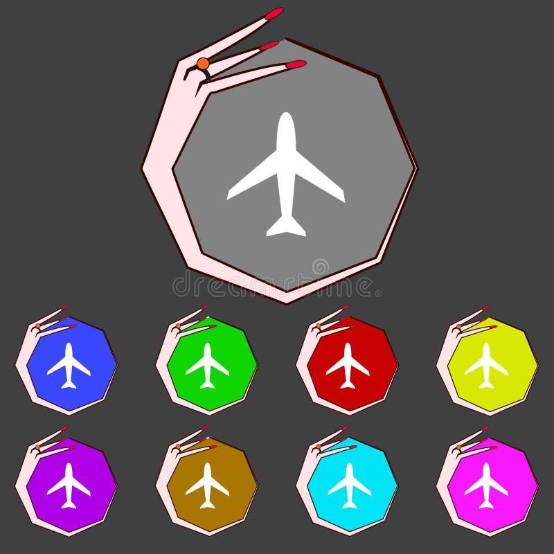 Sinal do avião Símbolo plano Ícone do curso vôo ilustração stock