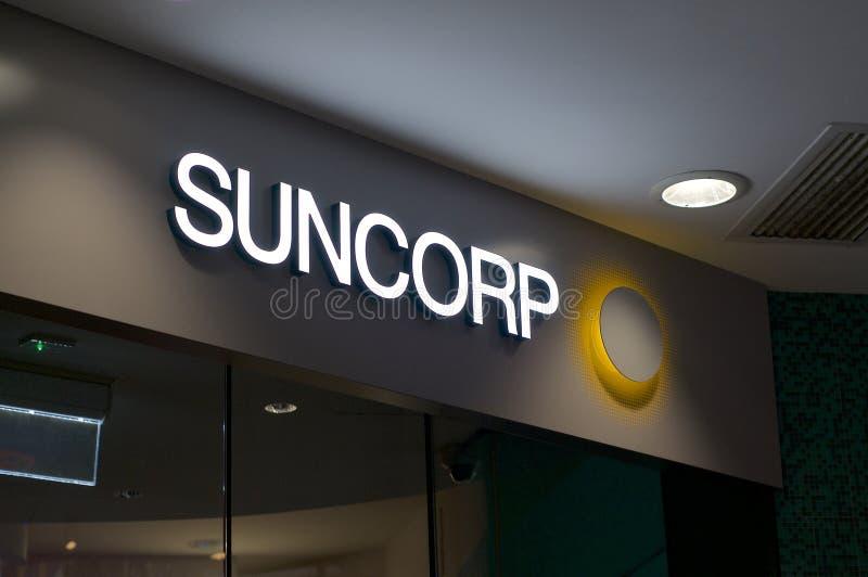 Sinal do Banco Suncorp imagem de stock