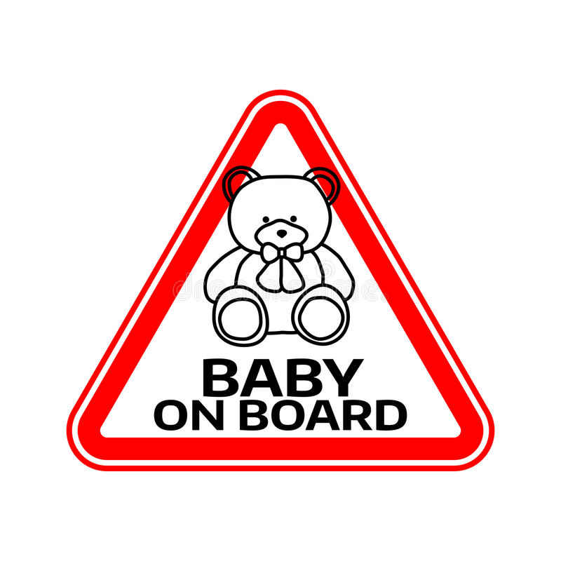Sinal do bebê a bordo com a silhueta do brinquedo do urso da criança no triângulo vermelho em um fundo branco Etiqueta do carro c ilustração royalty free