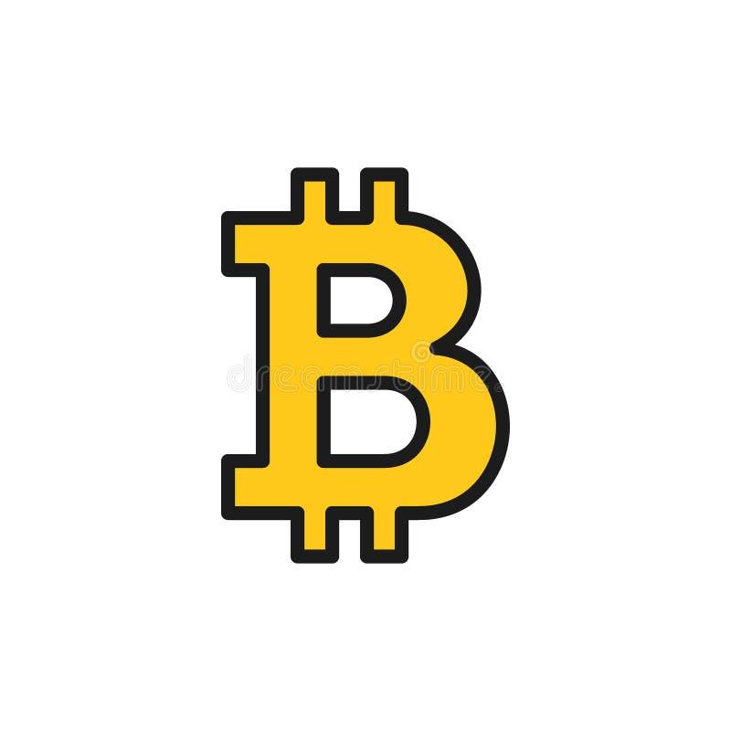 Sinal do bitcoin do vetor, ícone liso da cor do cryptocurrency ilustração royalty free