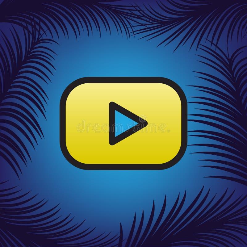 Sinal do botão do jogo Vetor Ícone dourado com contorno preto no azul ilustração do vetor
