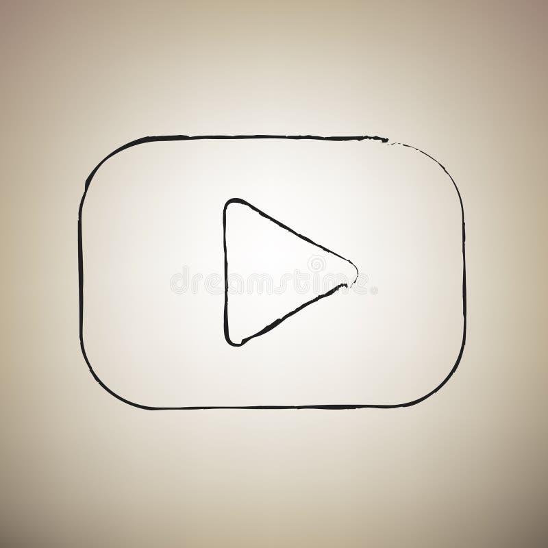 Sinal do botão do jogo Vetor A escova drawed o ícone preto na luz - marrom ilustração do vetor