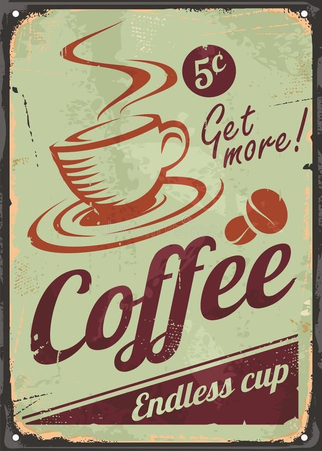 Sinal do café do vintage no fundo velho do metal ilustração do vetor