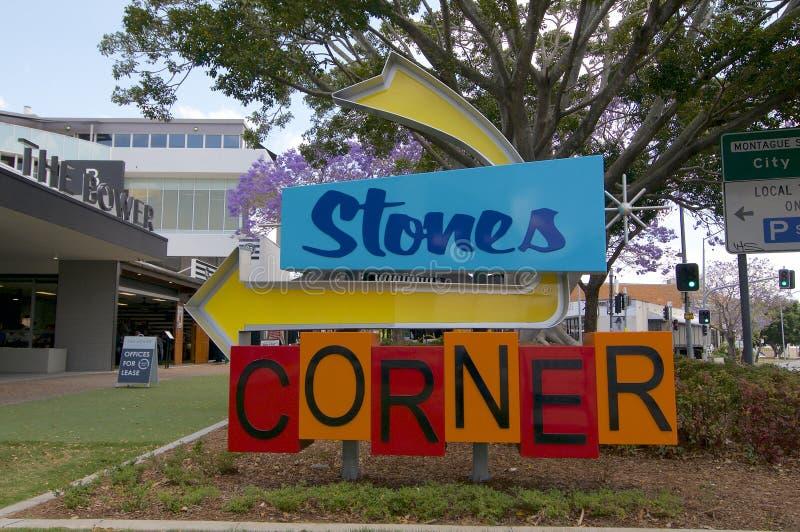 Sinal do Canto das Pedras na Cidade de Brisbane fotos de stock