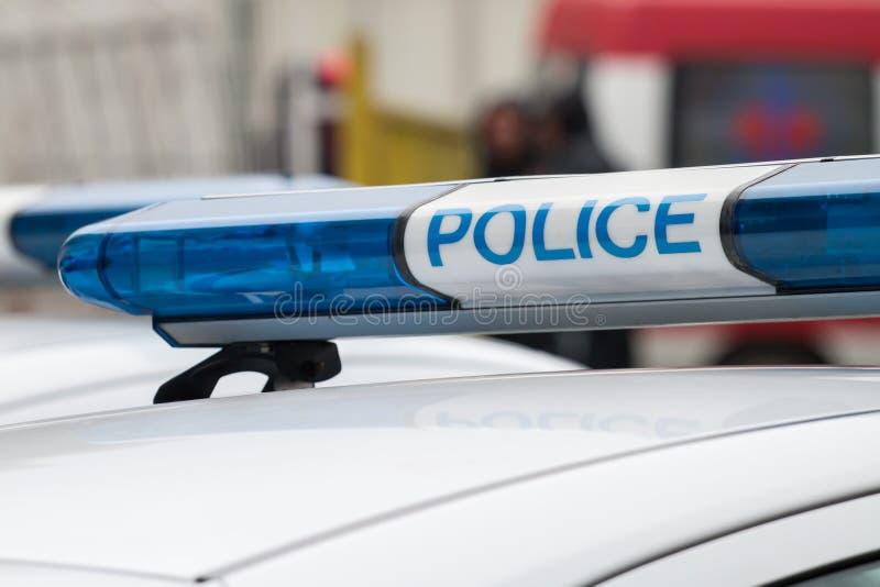 Sinal do carro de polícia Luz da sirene imagens de stock