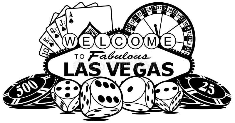 Sinal do casino de Las Vegas ilustração do vetor