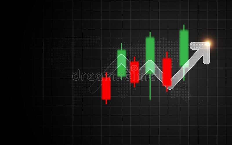 Sinal do castiçal dos estrangeiros com gráfico de barra da seta Conceito do indicador do negócio e do investimento Mercado e tema ilustração stock