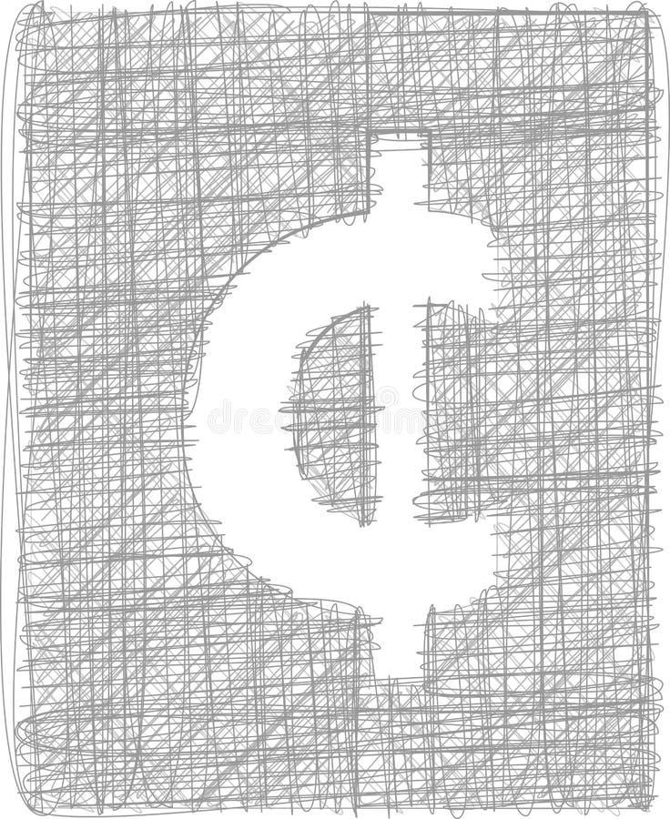 Sinal do centavo - símbolo a mão livre ilustração royalty free