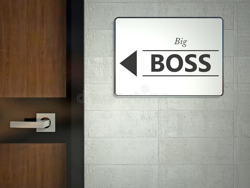 Sinal do chefe grande que pendura perto do escritório fotos de stock