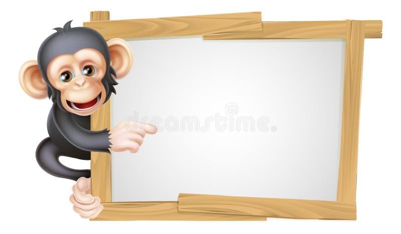 Sinal do chimpanzé dos desenhos animados ilustração stock