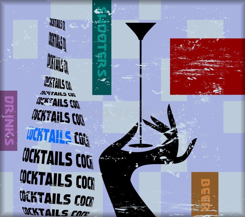 Sinal do cocktail de Vintge ilustração do vetor