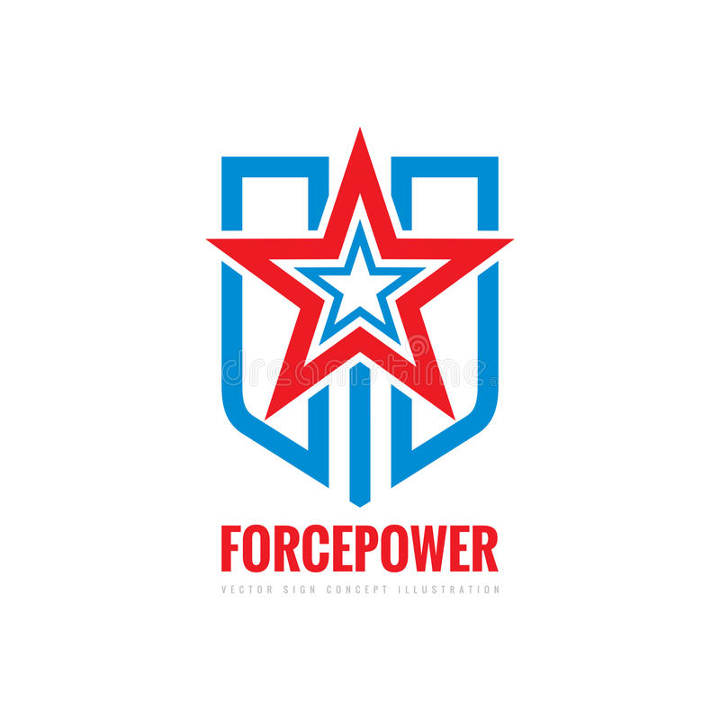 Sinal do conceito do poder da força Estrela, protetor e listras - vector a ilustração do molde do logotipo Símbolo abstrato Eleme ilustração do vetor