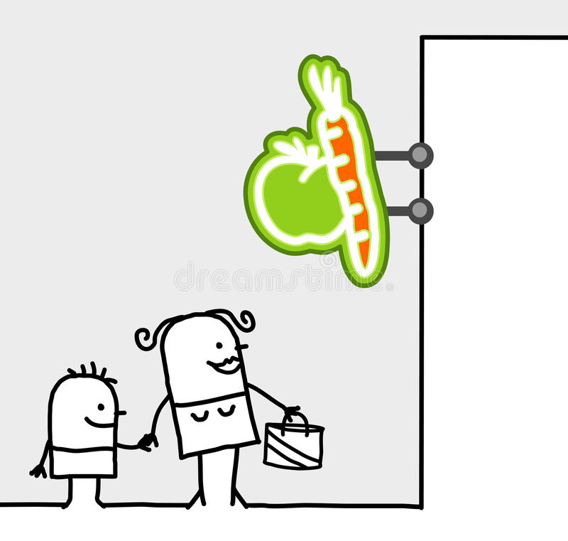 Sinal do consumidor & da loja - frutas & vegetais ilustração do vetor