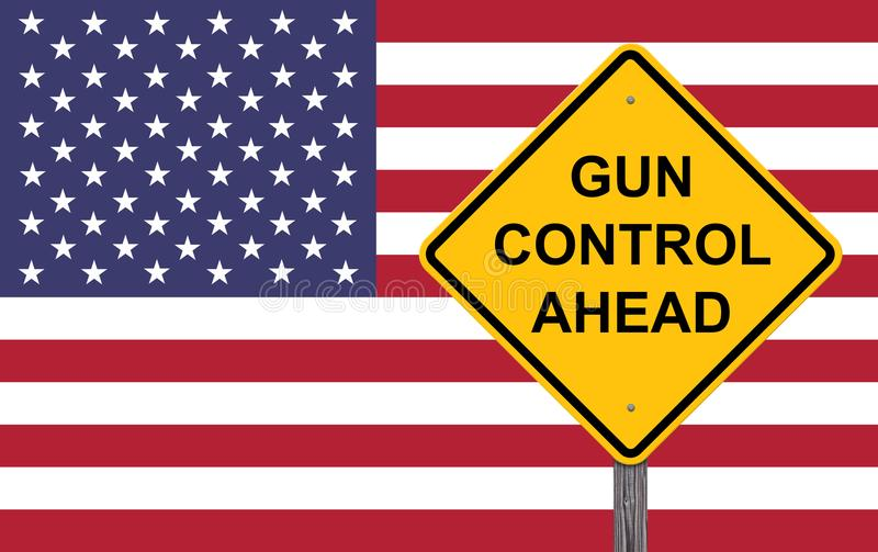 Sinal do cuidado - controlo de armas adiante ilustração stock