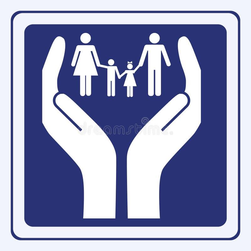 Sinal do cuidado da família ilustração do vetor