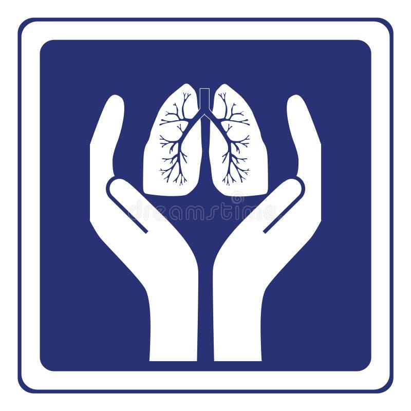 Sinal do cuidado do pulmão ilustração royalty free