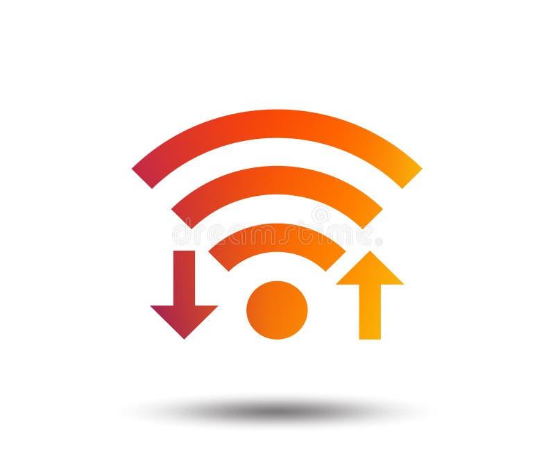 Sinal do sinal de Wifi Transferência de arquivo pela rede de Wi-Fi, símbolo da transferência ilustração do vetor