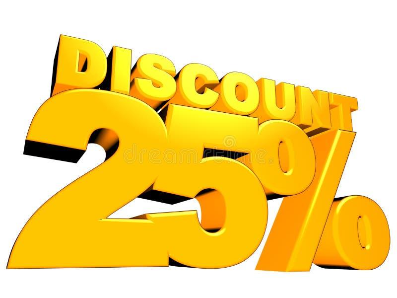 sinal do disconto de 3D 25% ilustração royalty free