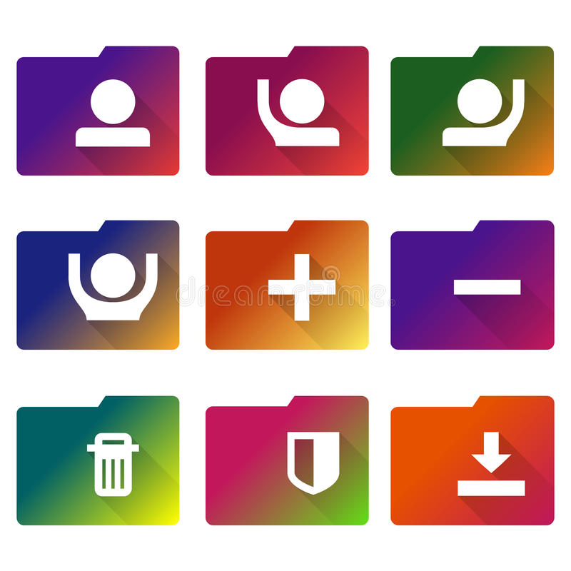 Sinal do dobrador Símbolo da pasta da contabilidade Ícones lisos coloridos no fundo branco ilustração stock