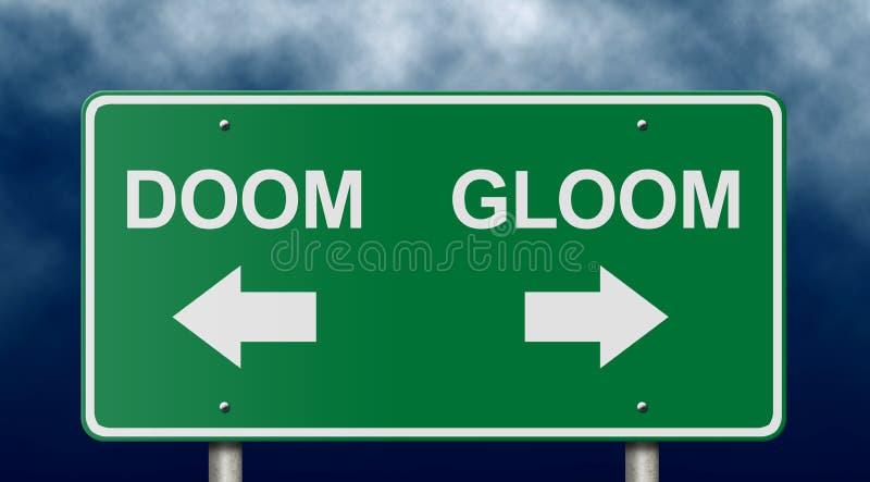 Sinal do Doom e de estrada da melancolia fotos de stock