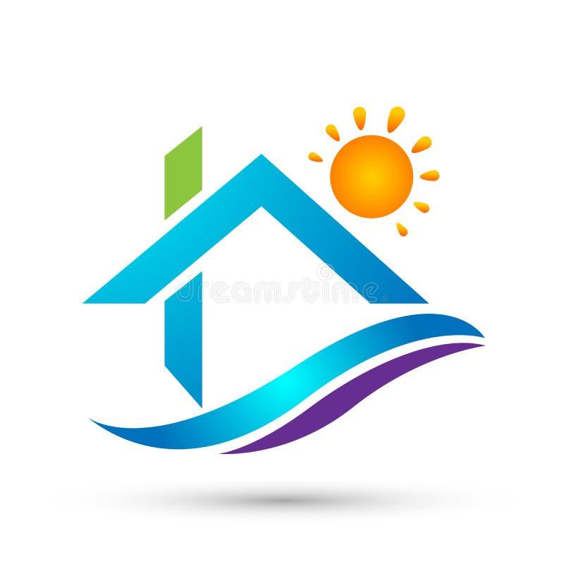 Sinal do elemento do ícone do logotipo do conceito da empresa da casa dos povos da família da casa do sol dos bens imobiliários n ilustração stock