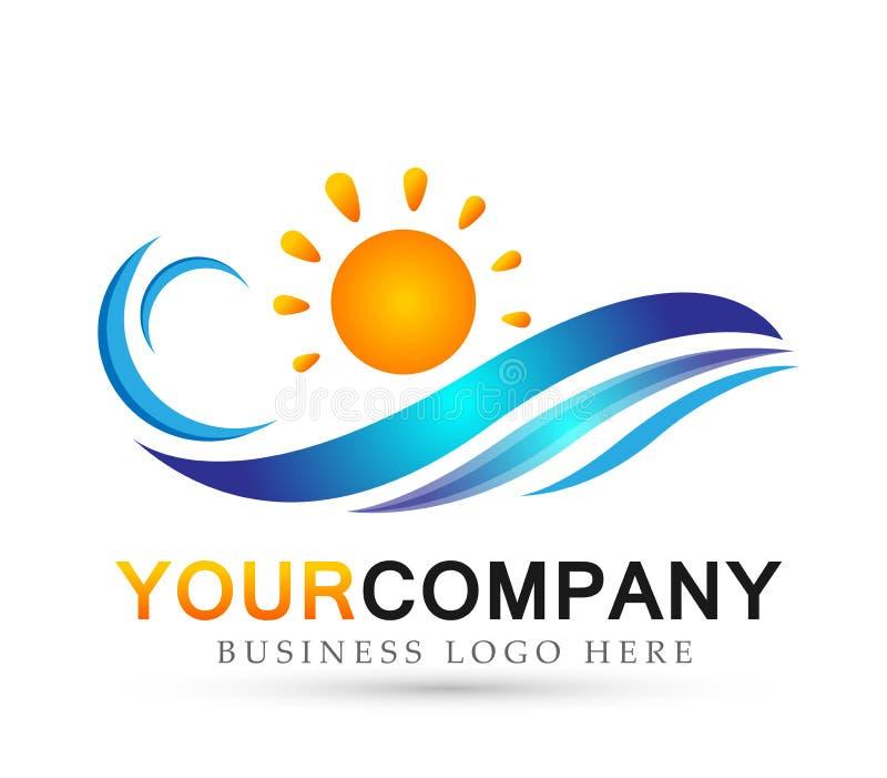 Sinal do elemento do ícone do logotipo do conceito da gota da agua potável do vetor do molde do logotipo da praia do oceano da on ilustração royalty free