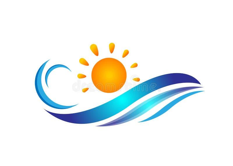 Sinal do elemento do ícone do logotipo do conceito da gota da agua potável do vetor do molde do logotipo da praia do oceano da on ilustração stock