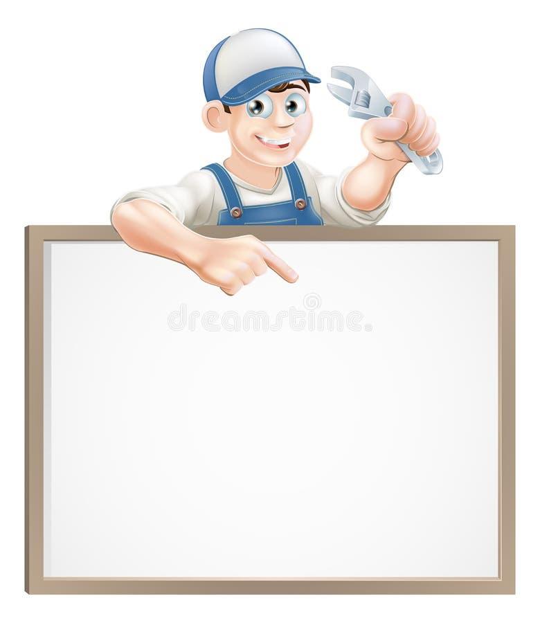 Sinal do encanador ou do mecânico ilustração do vetor