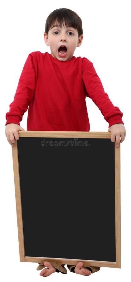 Sinal do espaço em branco do menino de escola fotos de stock